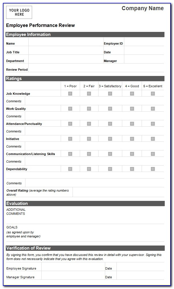 Job Performance Evaluation Form Templates
