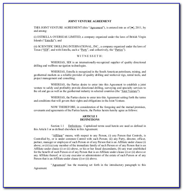 Joint Venture Agreement Documents