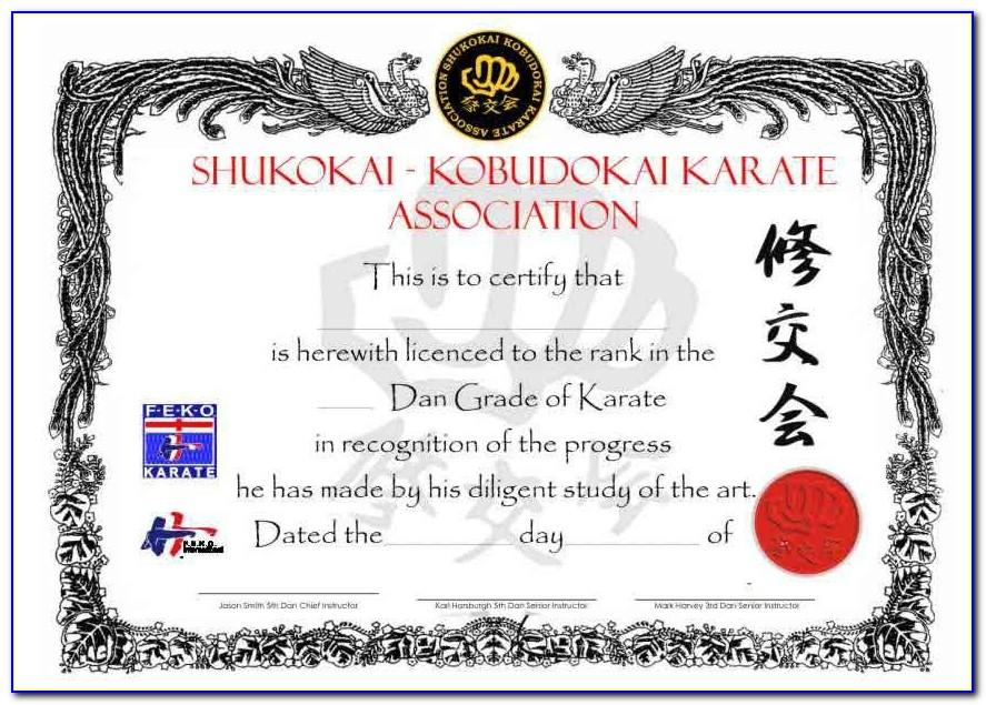 Karate Black Belt Certificate Templates
