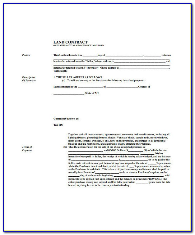 Land Contract Forms Ohio
