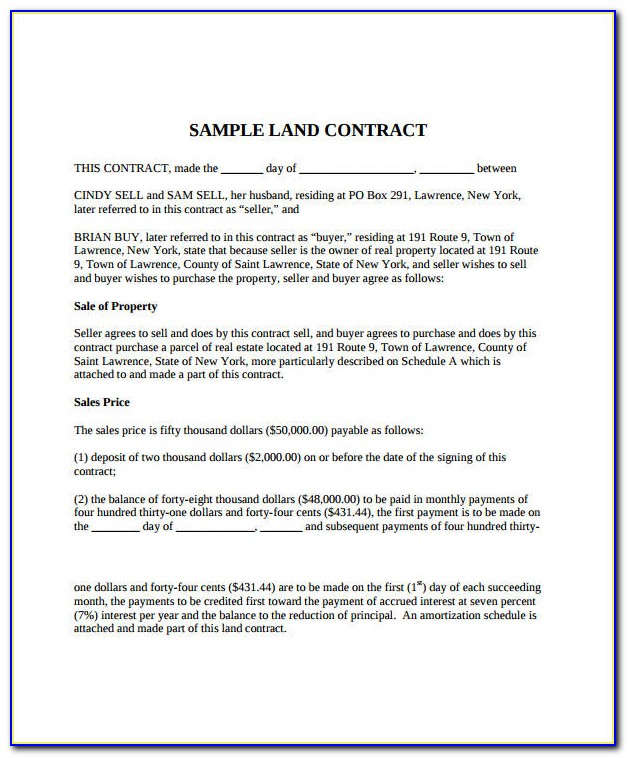 Land Sale Contract Template