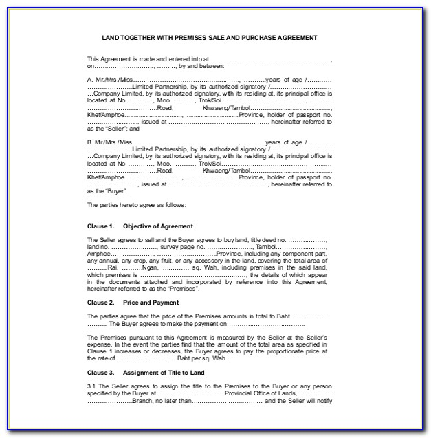 Land Sales Contract Template