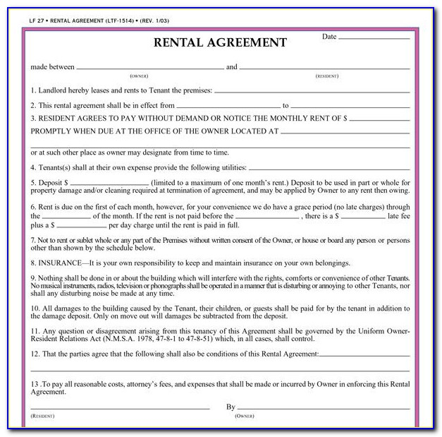 Landlord Lease Agreement Form