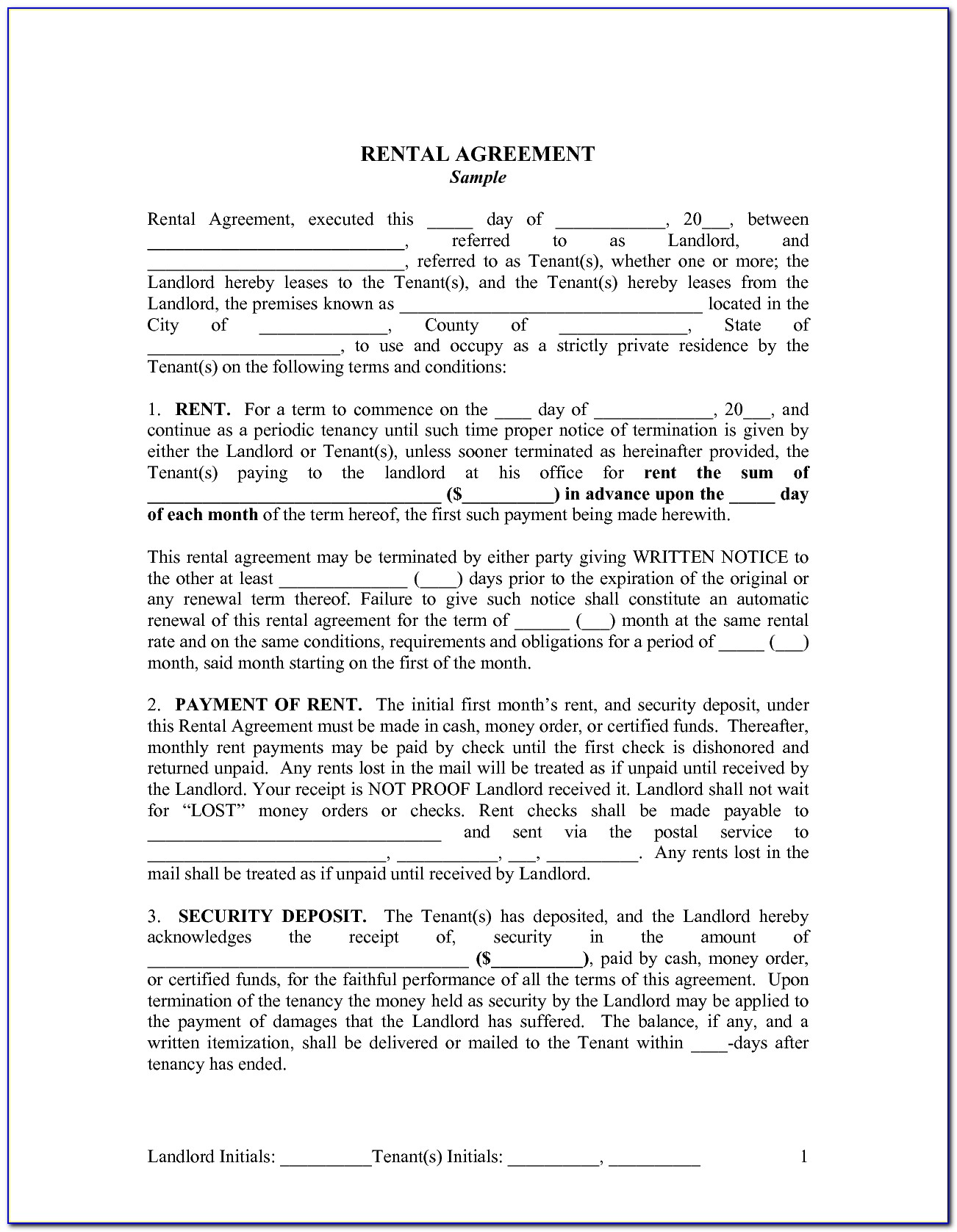 Landlord Tenant Lease Template