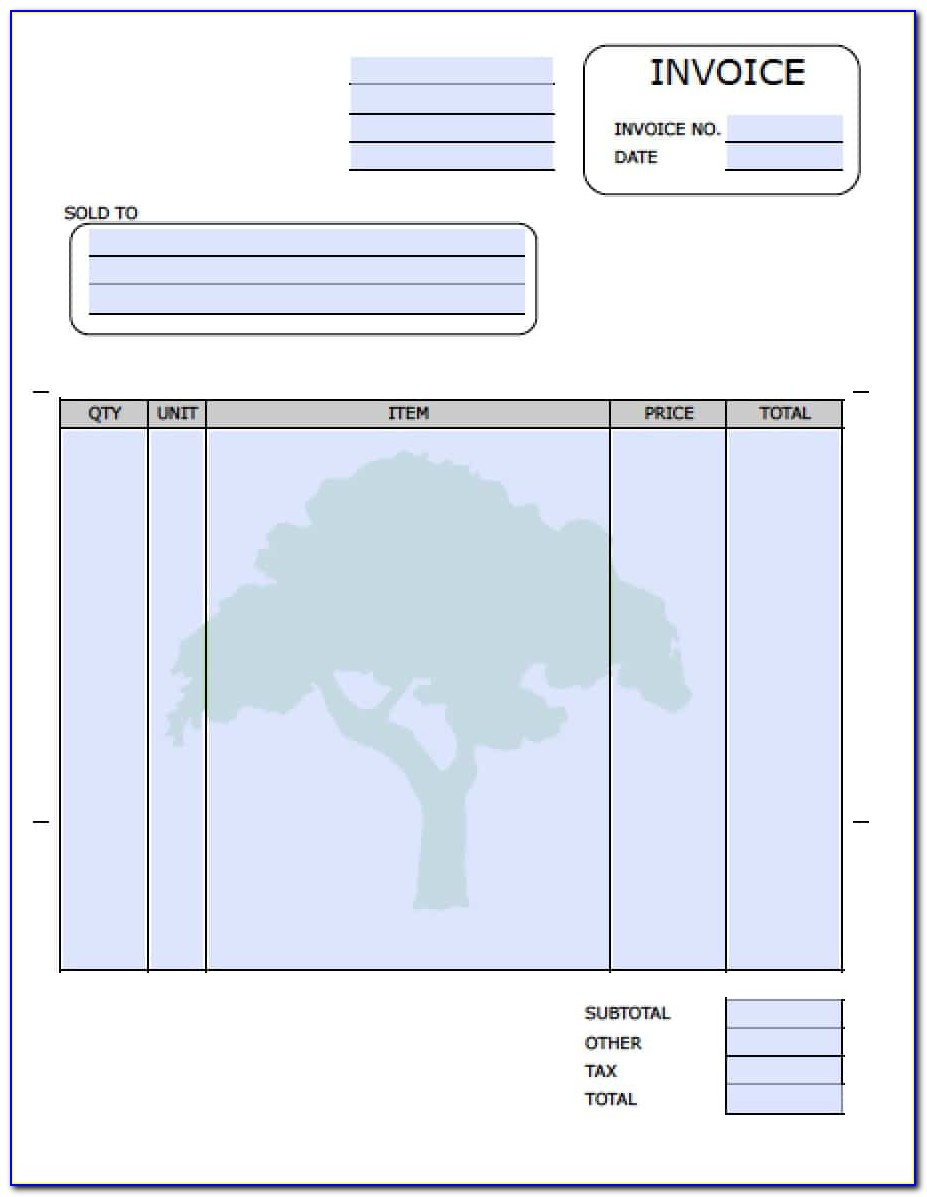 Landscaping Invoice Form Template