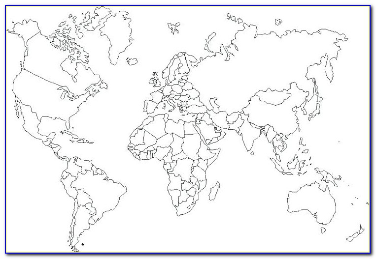 Large Blank World Map With Oceans Marked