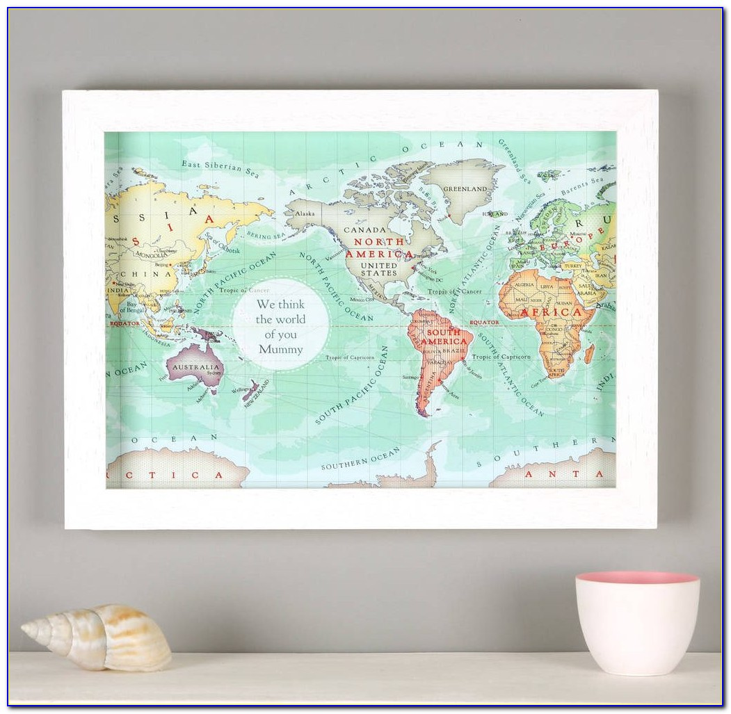 Large Framed Magnetic World Map