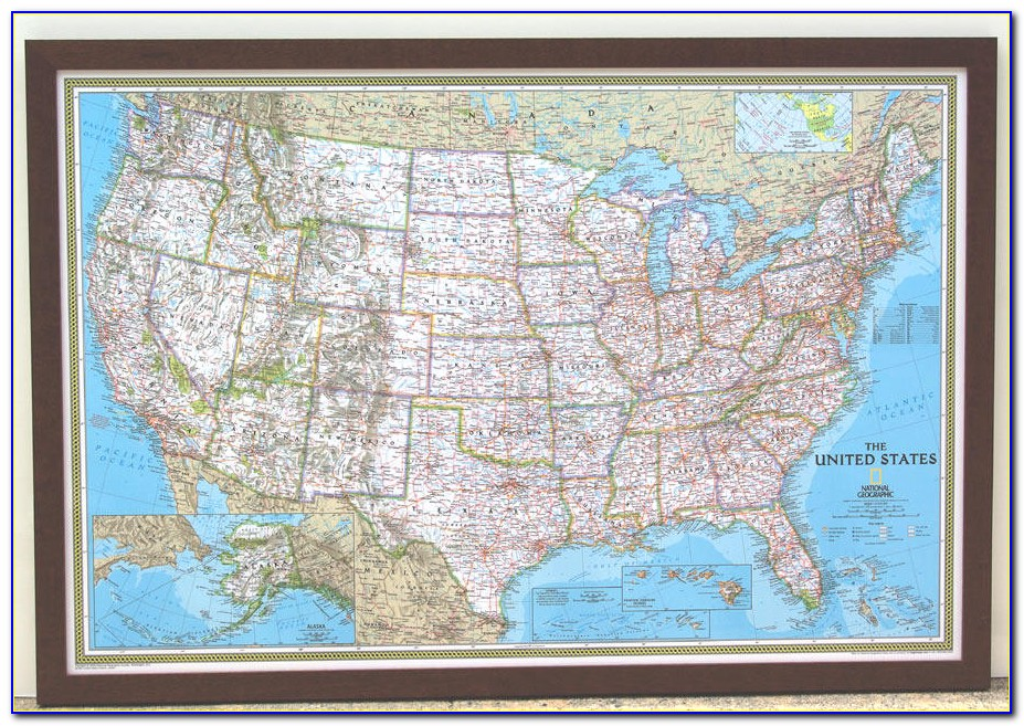 Large Framed Map Of The United States