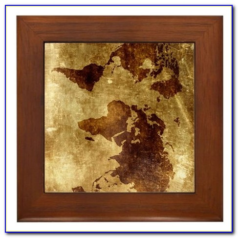 Large Framed Vintage World Map