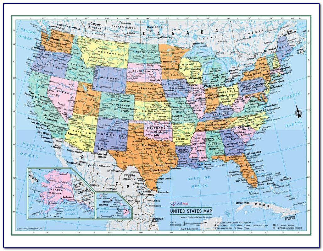 Large Laminated Us Road Map
