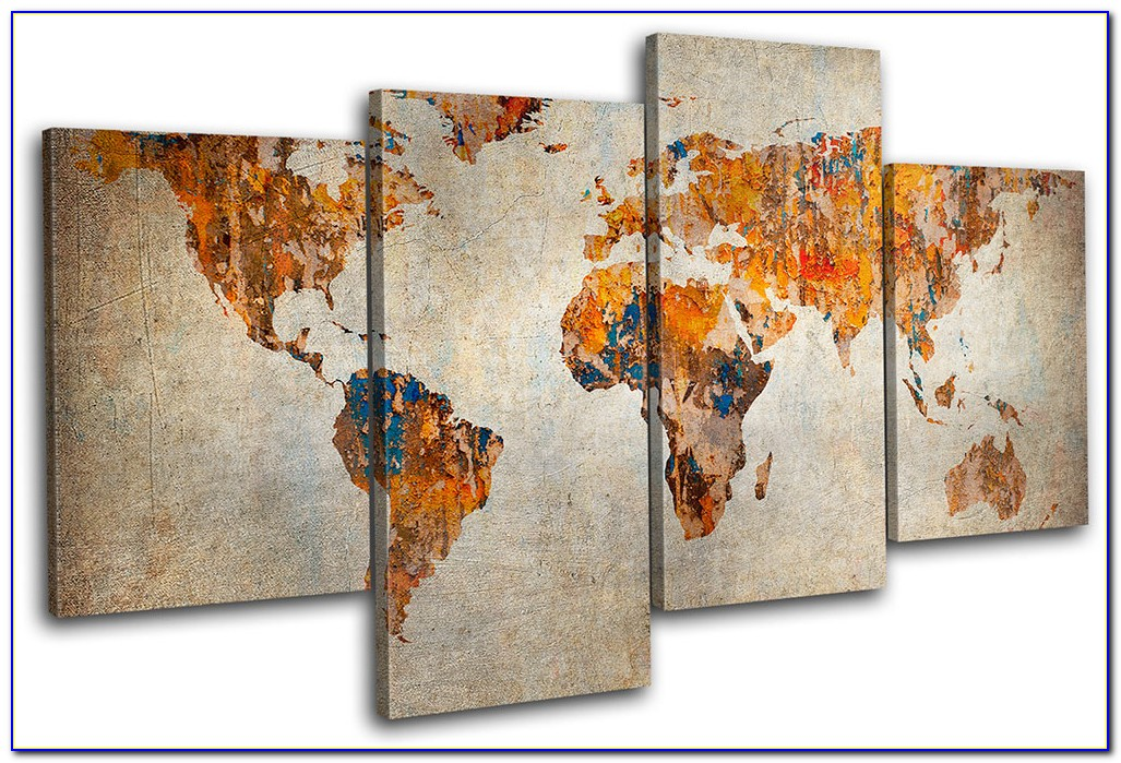 Large World Wall Map Canvas