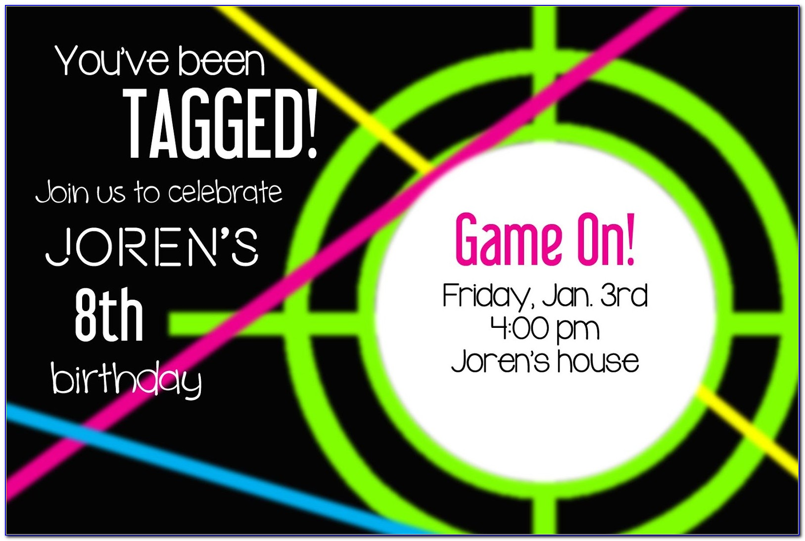Laser Tag Birthday Invitation Templates Free