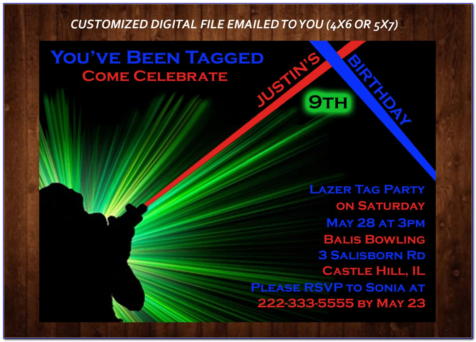 Laser Tag Birthday Invitations Templates