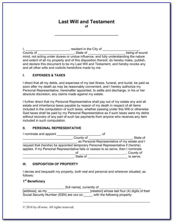 Last Will And Testament Forms Free Uk