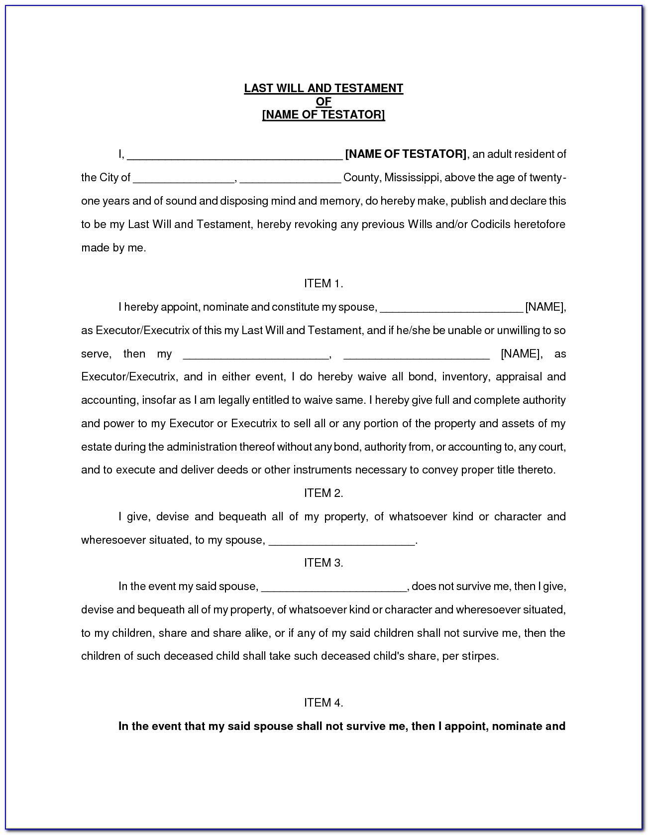 Last Will And Testament Free Template For Widow