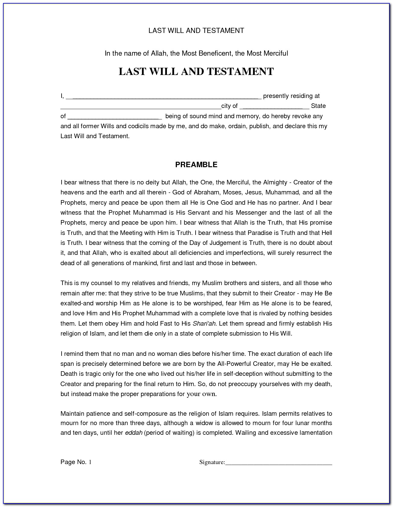 Last Will And Testament Free Template Pdf