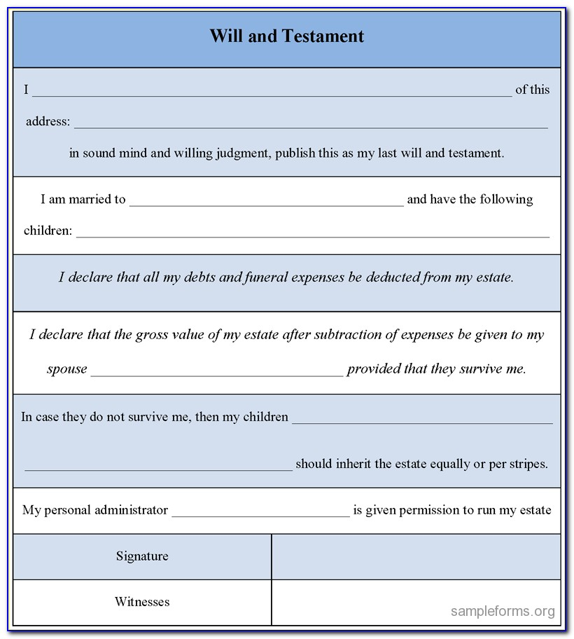 Last Will And Testament Free Template Uk