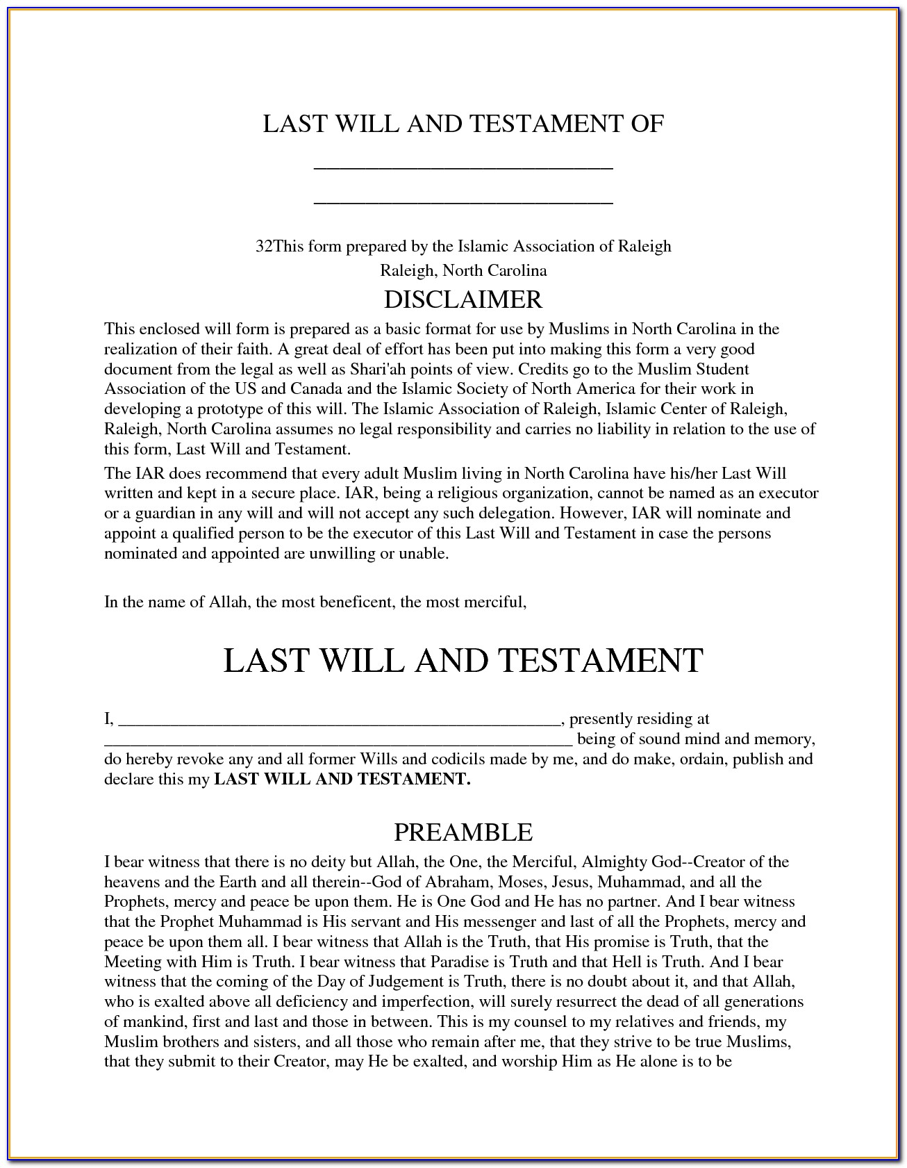 Last Will And Testament Georgia Free Forms