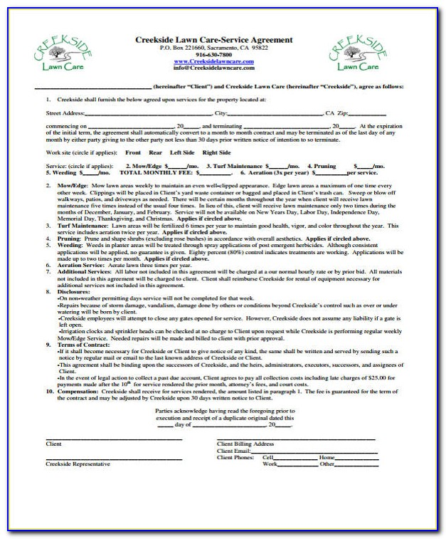 Lawn Maintenance Contract Agreement Pdf