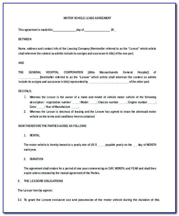 Lease Agreement Examples Residential
