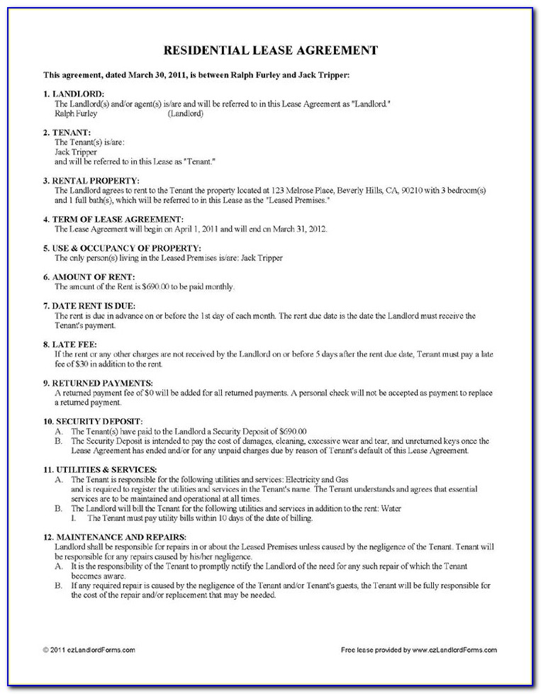 Lease Agreement Form Free Florida