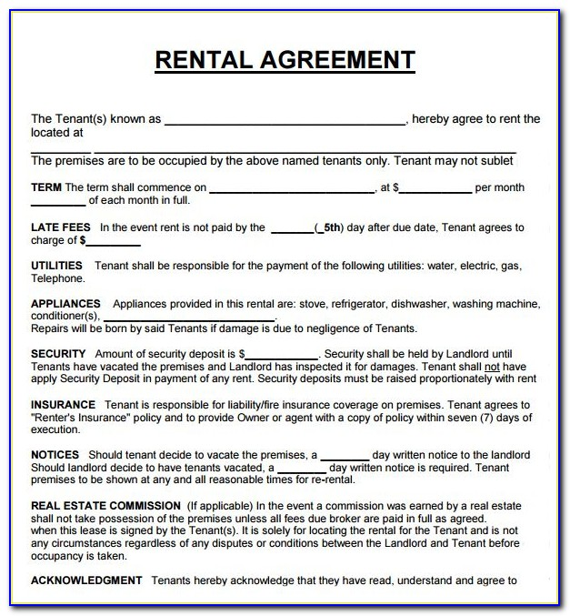 Lease Agreement Template South Africa Pdf