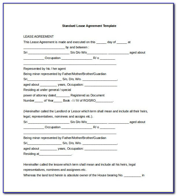 Lease Contract Template Word