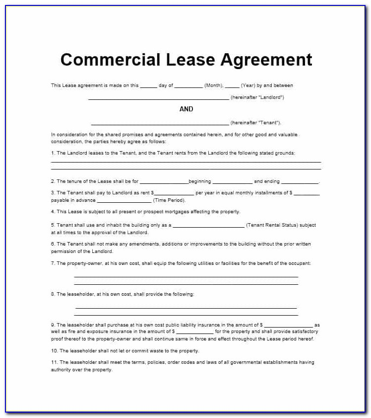 Lease For Commercial Property Template