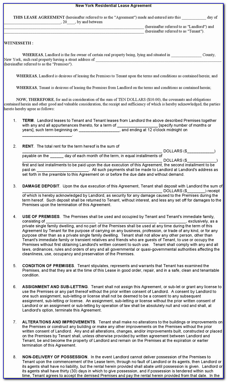Lease Renewal Form Nyc