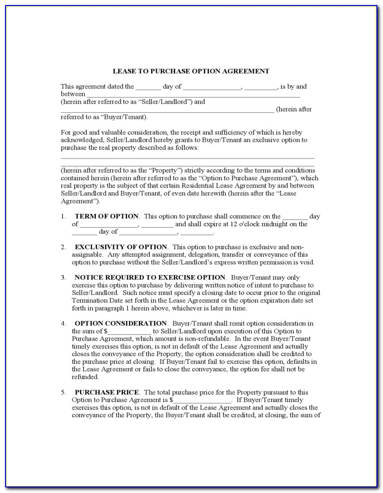 Lease To Purchase Option Agreement Form