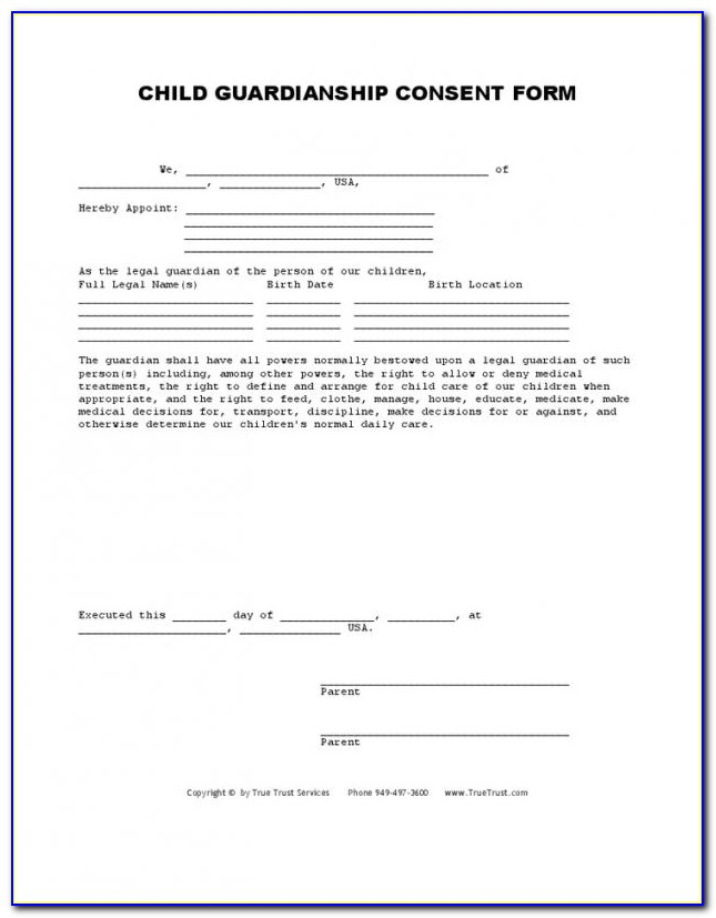 Legal Form For Guardianship Of A Child In Case Of Death Uk