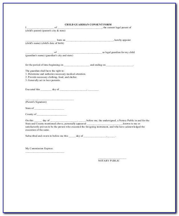 Legal Form For Guardianship Of A Child In Case Of Death