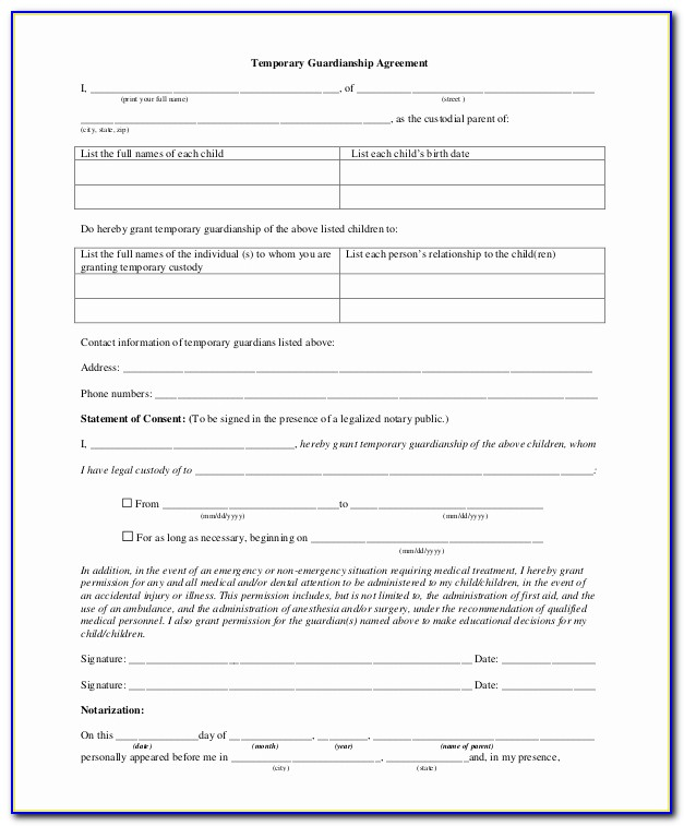 Temporary Guardianship Agreement Form Best Of Sample Temporary Guardianship Form 10 Examples In Pdf Word