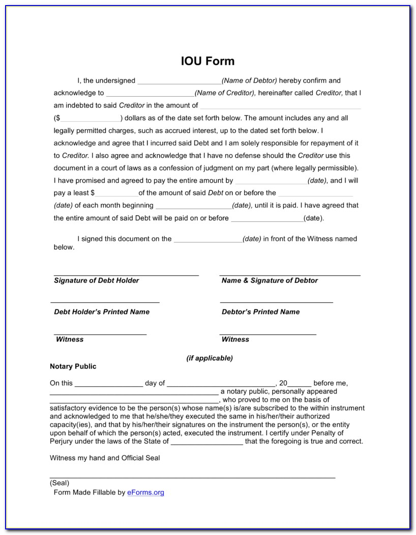 Legal Iou Forms