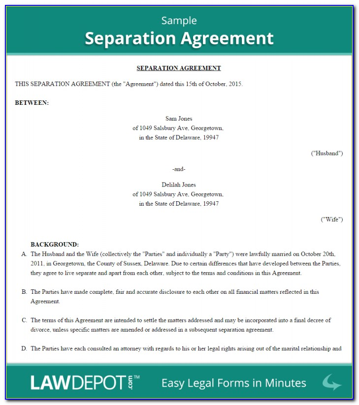 Separation Agreement Template (us) Lawdepot Throughout Separation Agreement Template Ireland