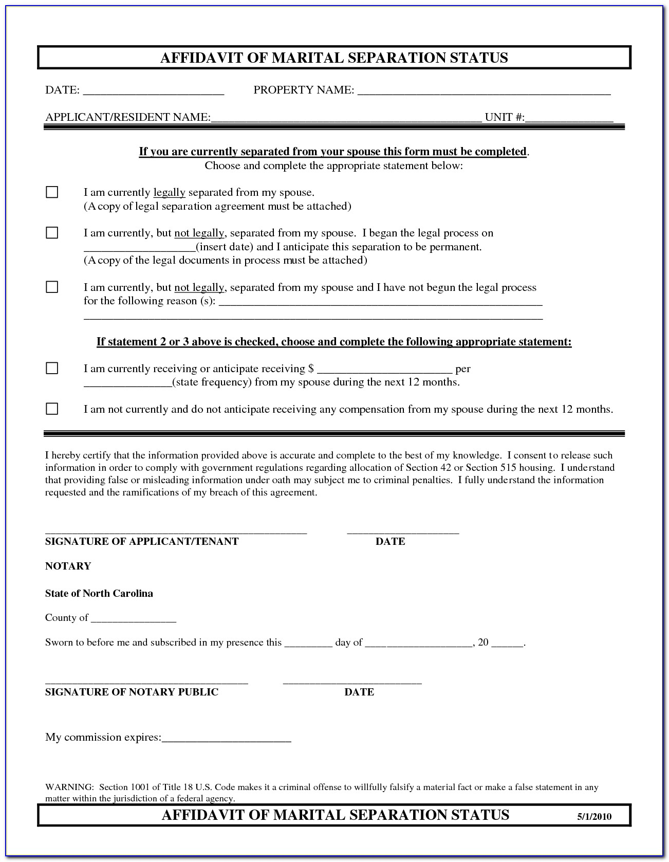Legal Separation In North Carolina Forms