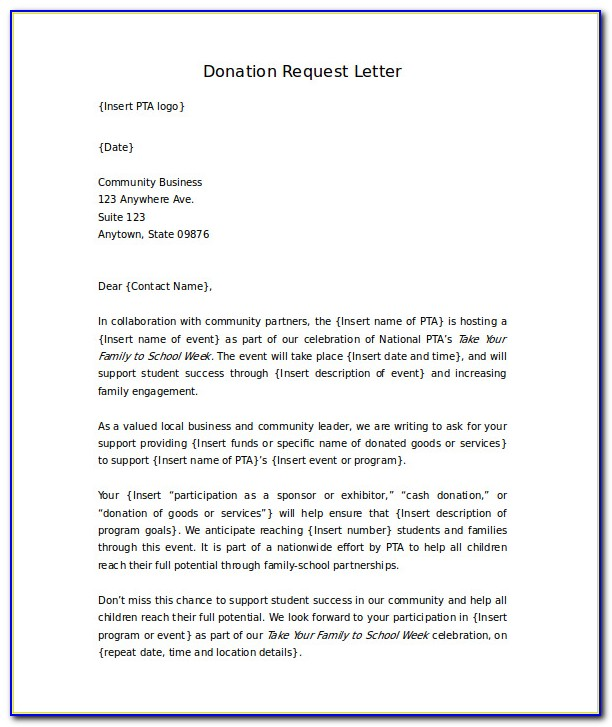 Letter For Donations Template