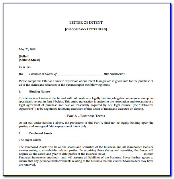 Letter Of Intent To Sell House Template