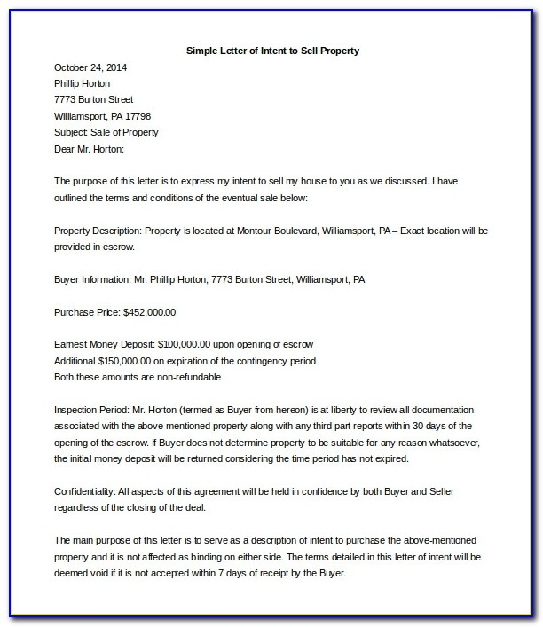 Letter Of Intent To Sell Property Template