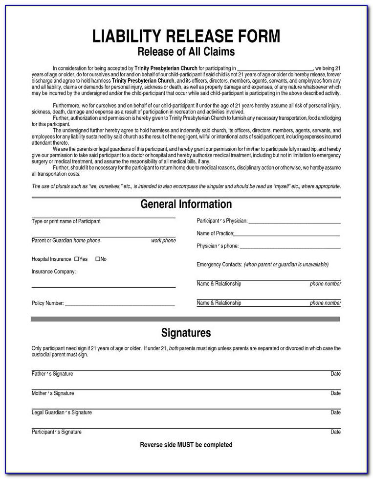 Liability Release Waiver Form Free