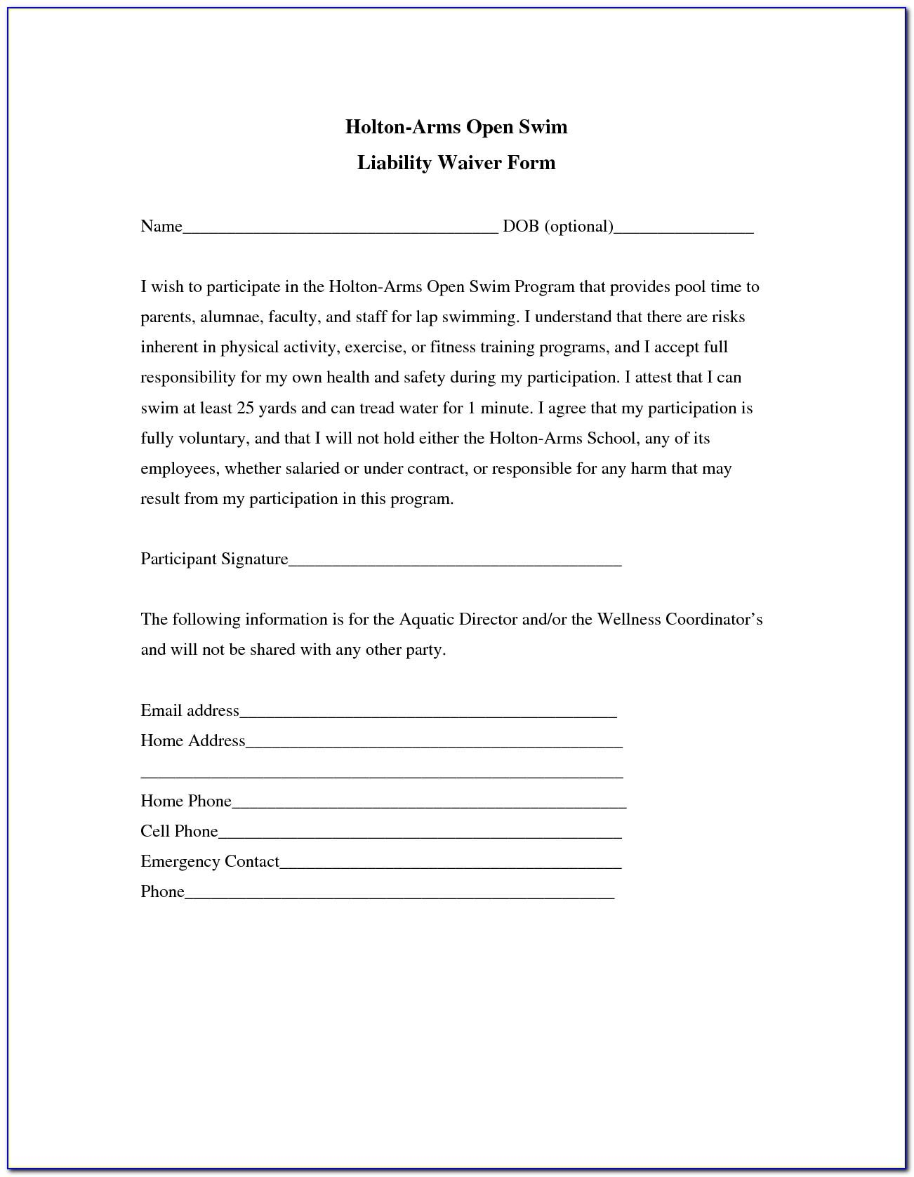 Liability Release Waiver Template
