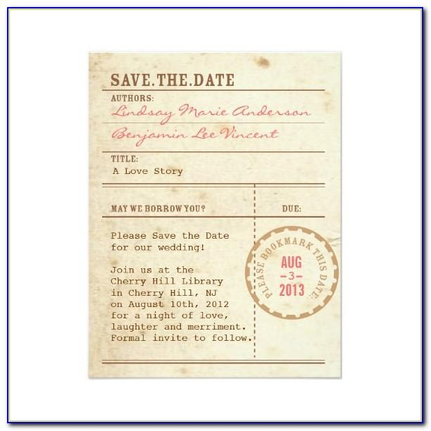 Library Card Save The Date Template