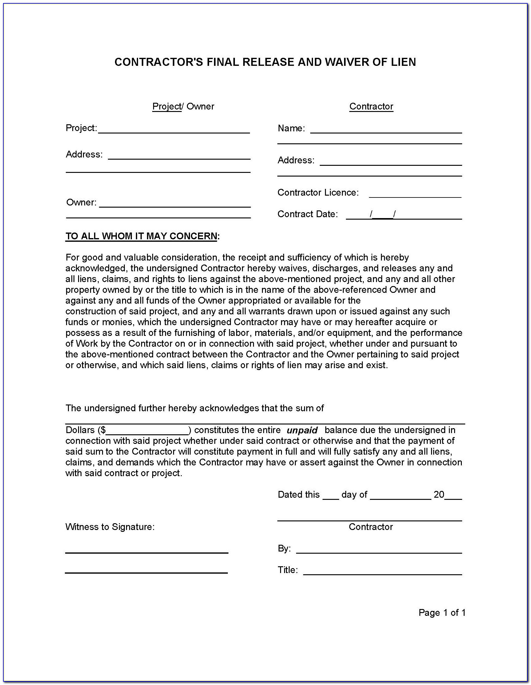Lien Waiver Form Example