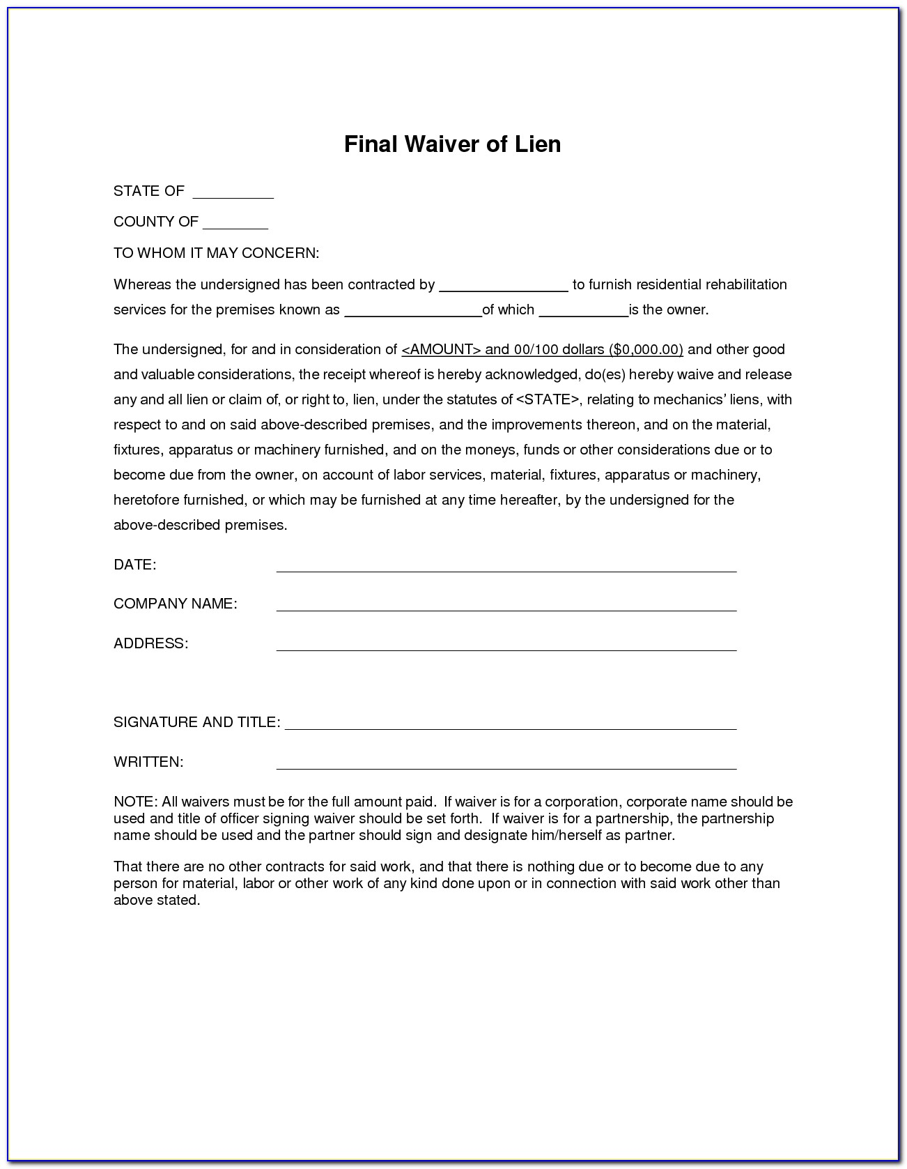 Lien Waiver Form Mn