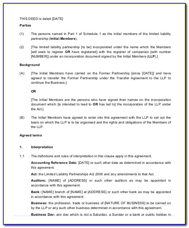 Limited Liability Agreement Sample