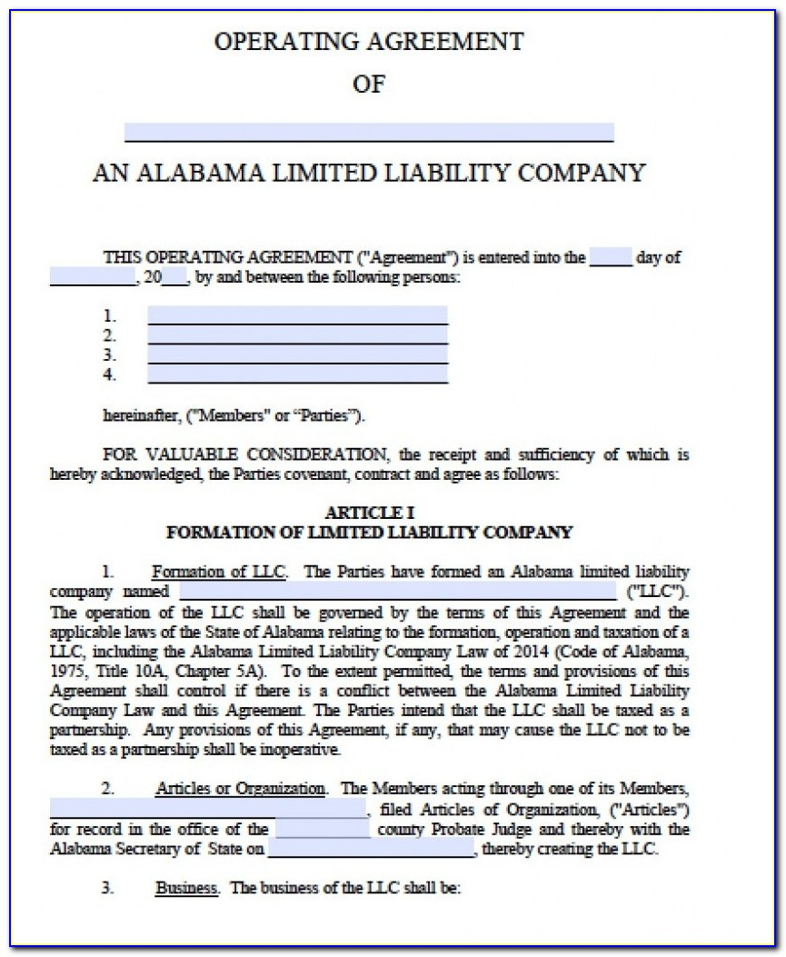 Missouri Llc Operating Agreement Template Free Sample Limited Liability Company Operating Agreement Llc