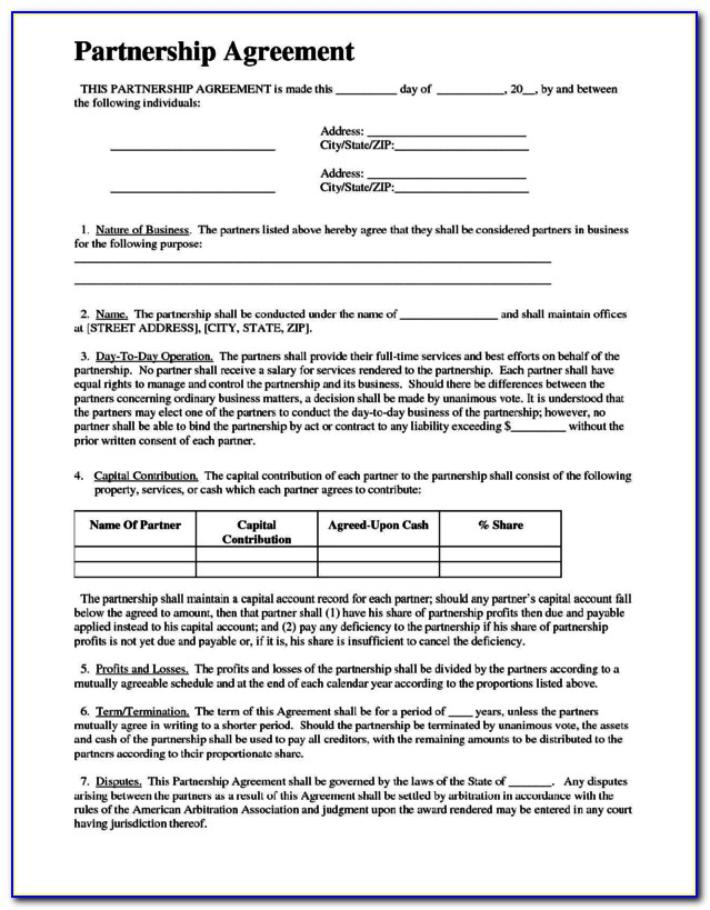 Limited Partnership Agreement Template Nz