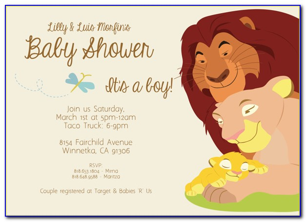 Lion King Baby Shower Invitation Templates Free