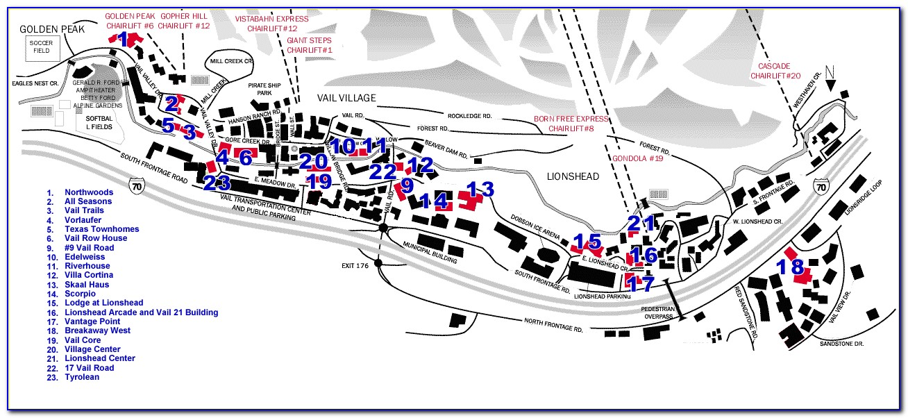 Lionshead Vail Hotel Map