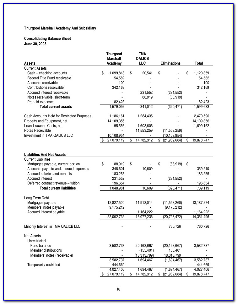 Llc Financial Statement Examples